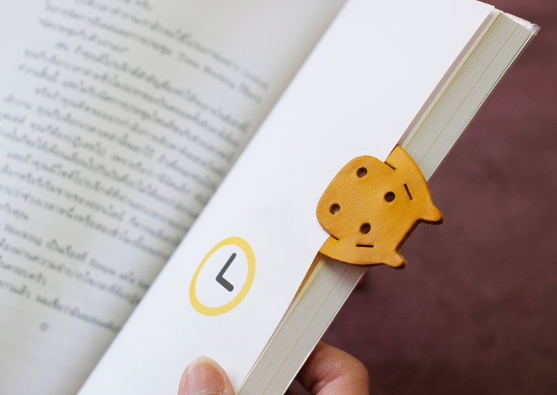 Leather Bookmark / Animal Bookmark / Gift for Book Lovers - Hippopotamus Yellow