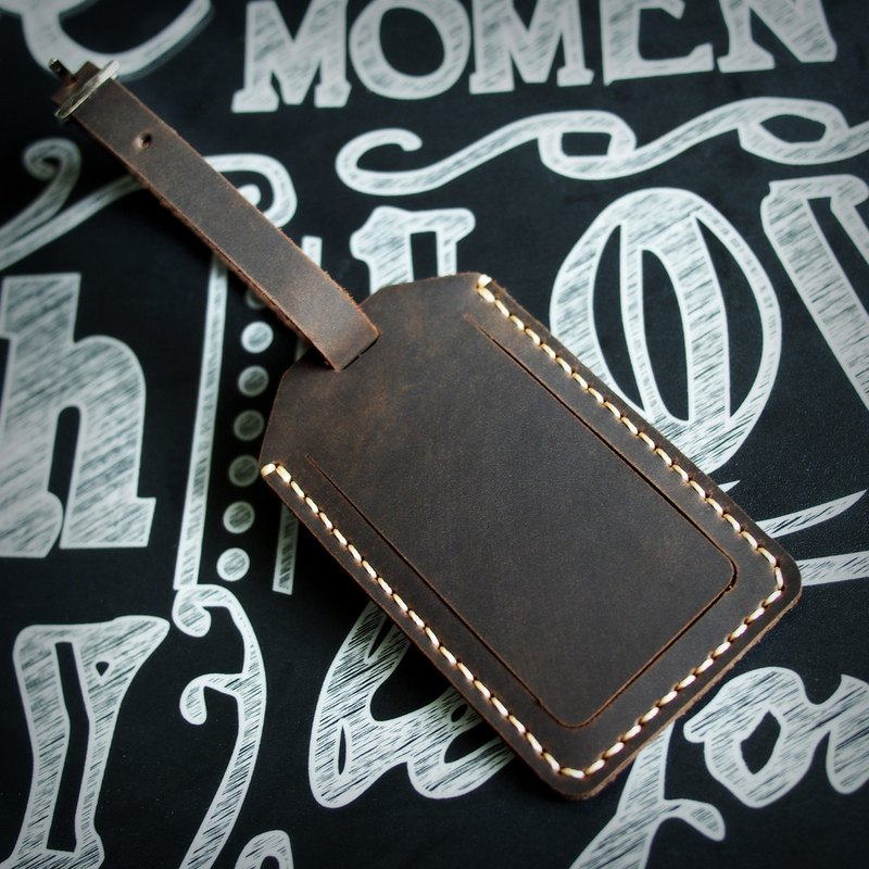 Handmade Personalized Luggage Tag Crazy Horse Leather