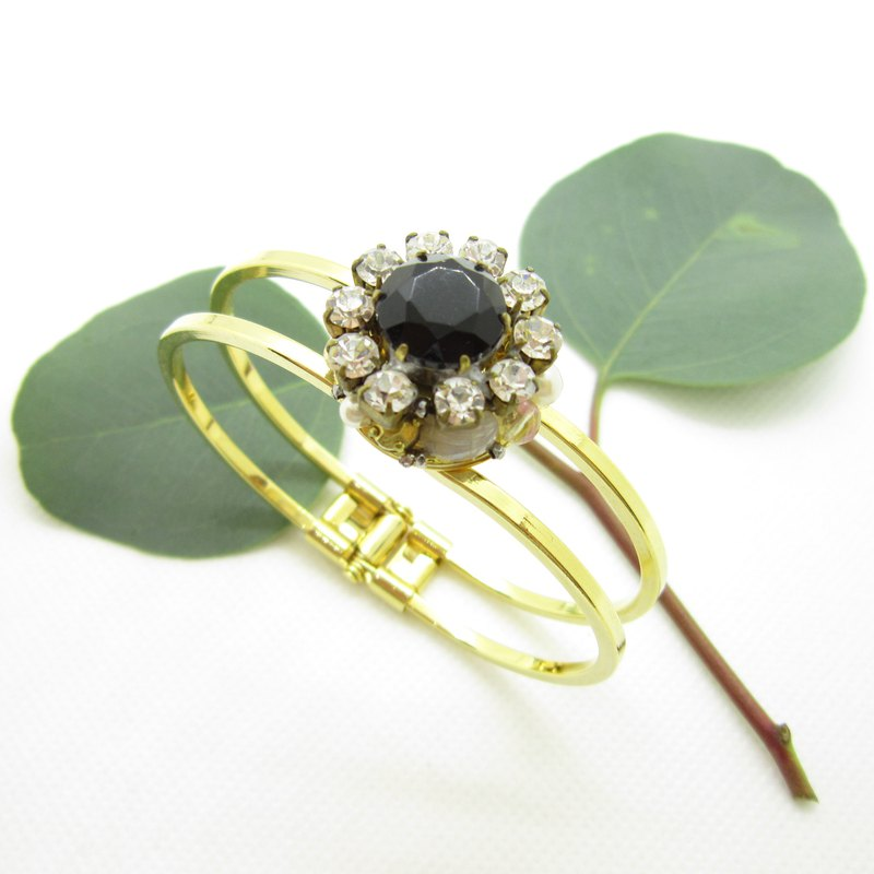 Vintage bijou bangle black x clear