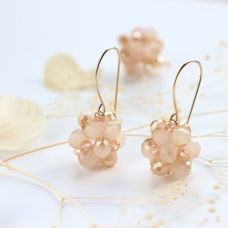 14 kgf-milky peach spherel pierced earrings (can change to clip-on)