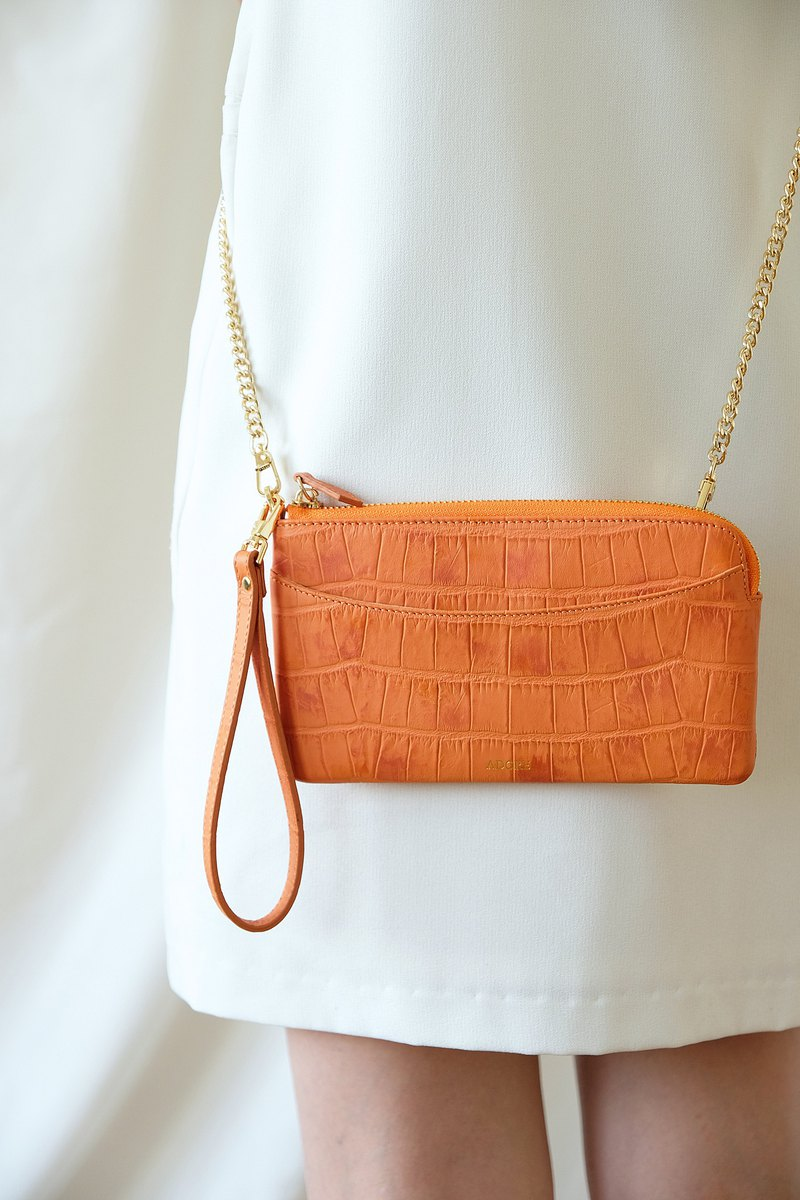 OLIVIA - Clutch/Crossbody Zipper Wallet - Orange