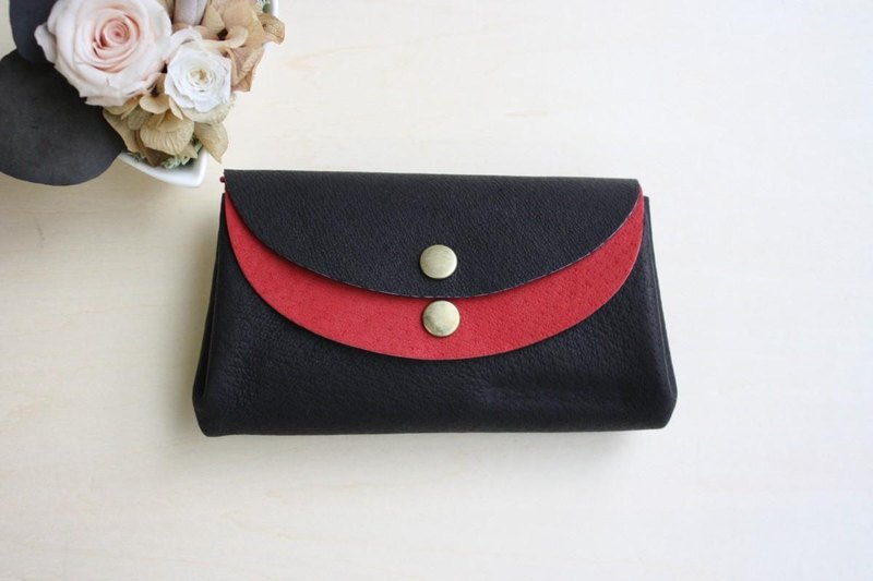 Pigskin's small wallet Black × Red