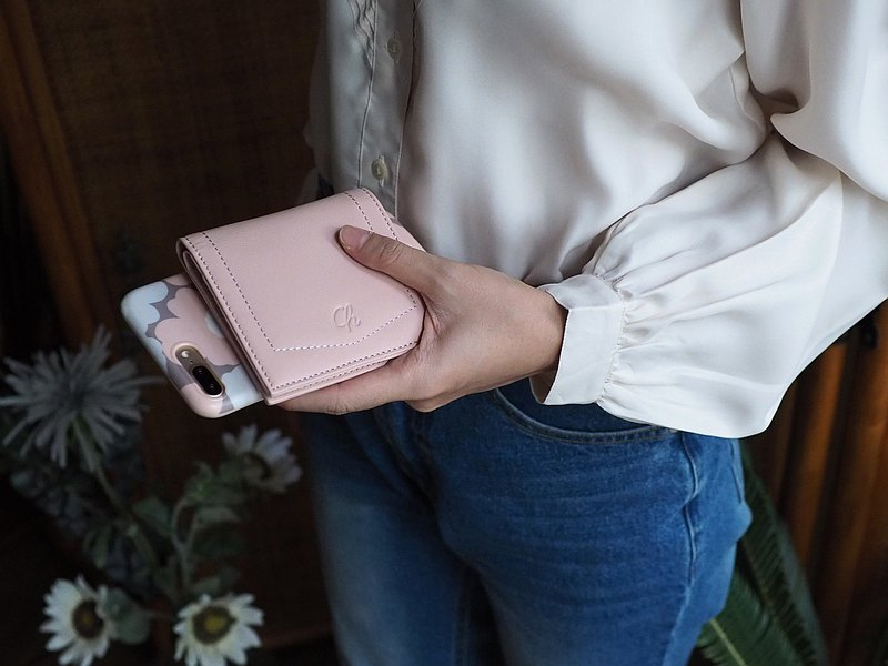 Hannah (Nude pink) : Small leather short wallet, folded wallet, Mini wallet