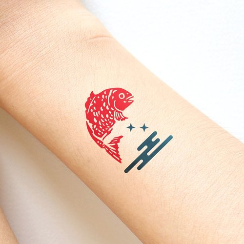 Red fish in the ocean in Japanese style sticker tattoo.