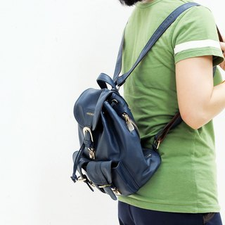 NAVY BLUE Bucket style Backpack Calfskin. A cool every day