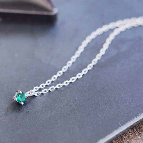 Tiny Emerald necklace silver925