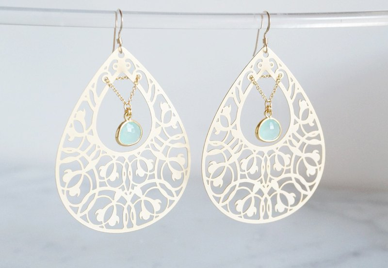 【14 KGF】 Earrings, Filigre Teardrop (Large) - Bohemian, Mint Green-