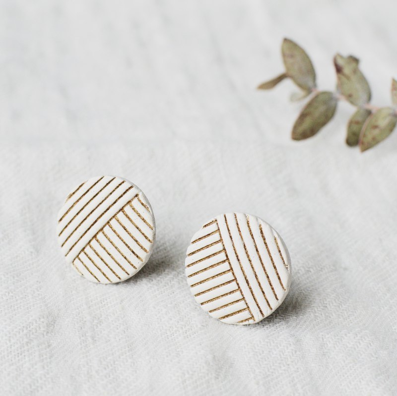 Oven clay earrings, Stripe, White