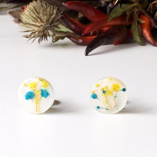 Stud earrings contained Yellow and Blue Babys breath (20 mm)
