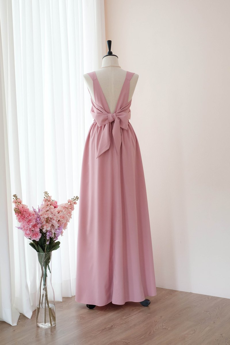 Pink nude Dress Bridesmaid backless party Cocktail dress