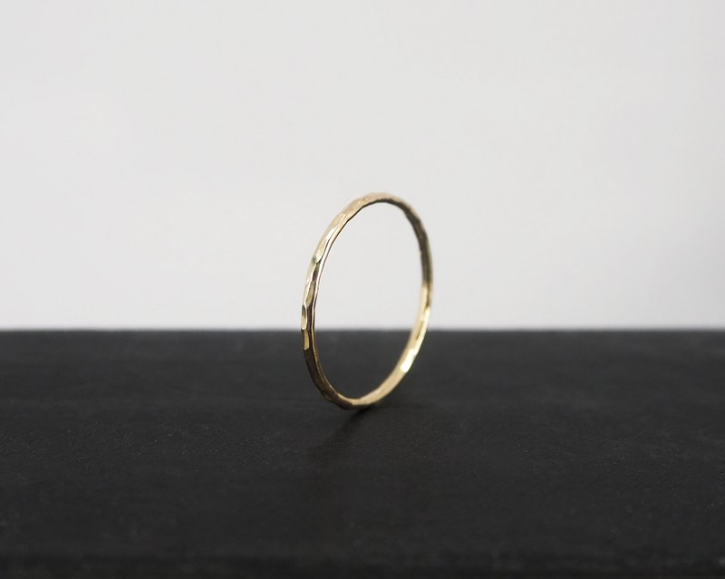 No.252.2 SILK THREAD RING 金丝线戒 (锤纹) - 14K GF