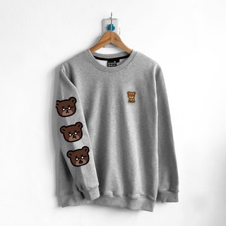 【BestFriend】Bear! Bear! Bear! Long Sleeve Sweat / 长袖大学T (灰)