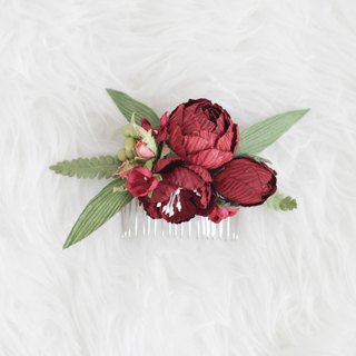 Deep Red - Paper Flower Hair Comb