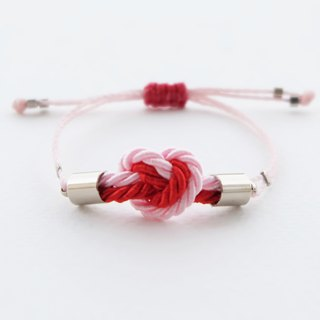 Tiny heart knot rope bracelet in light pink / red
