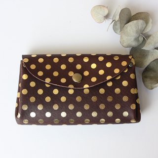 Small wallet polka dot chocolate of pigskin