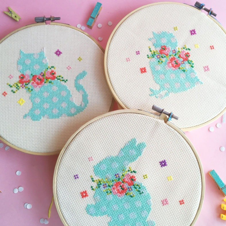 十字绣材料包 SET - Kitten + Bunny + Chick with Floral Wreaths