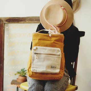 BUCKET BEAM BAG : HONEY x WHITE (canvas)