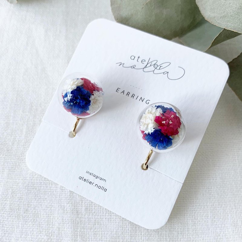 Earring/Real flowers in glass/baby's breath/dried flower