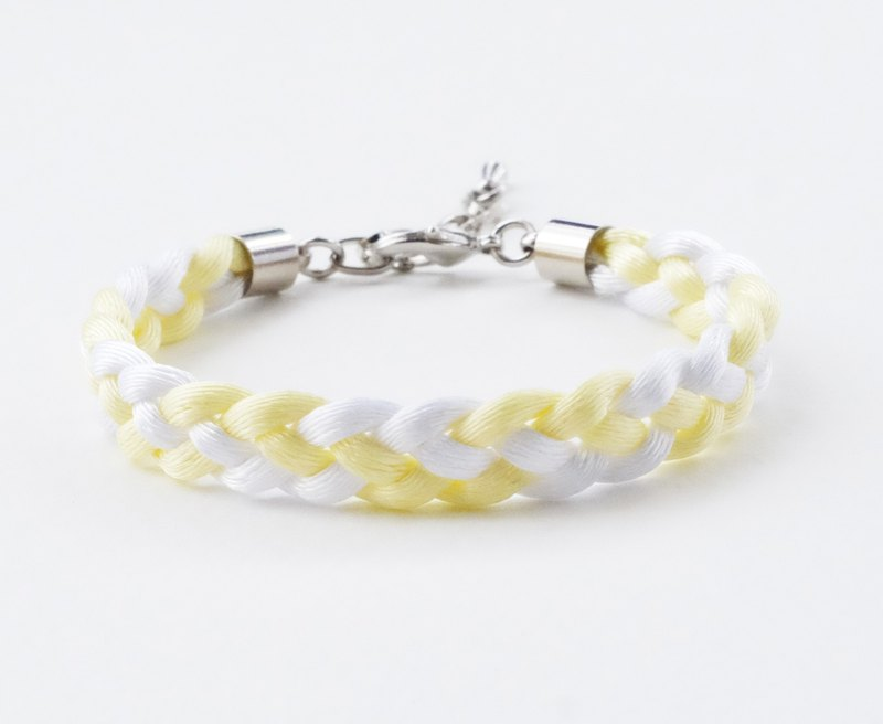Yellow / White braided mini bracelet