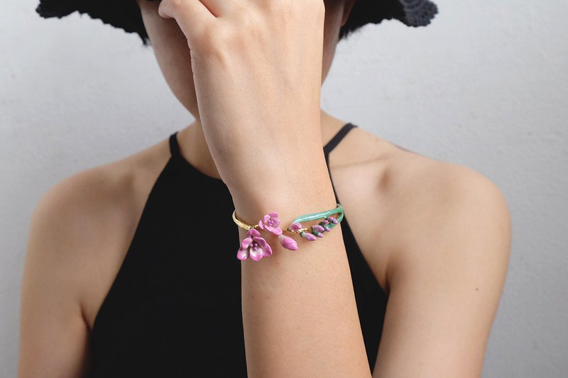 Freesia Bangle, Pink Freesia, Pink Flower, Flower Jewelry