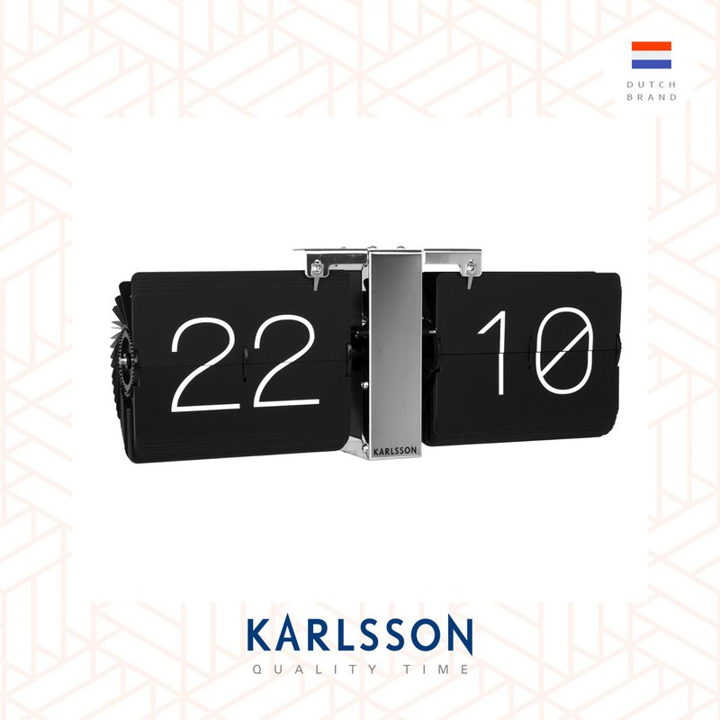 Karlsson, Flip clock No Case black, chrome stand黑色翻页银座