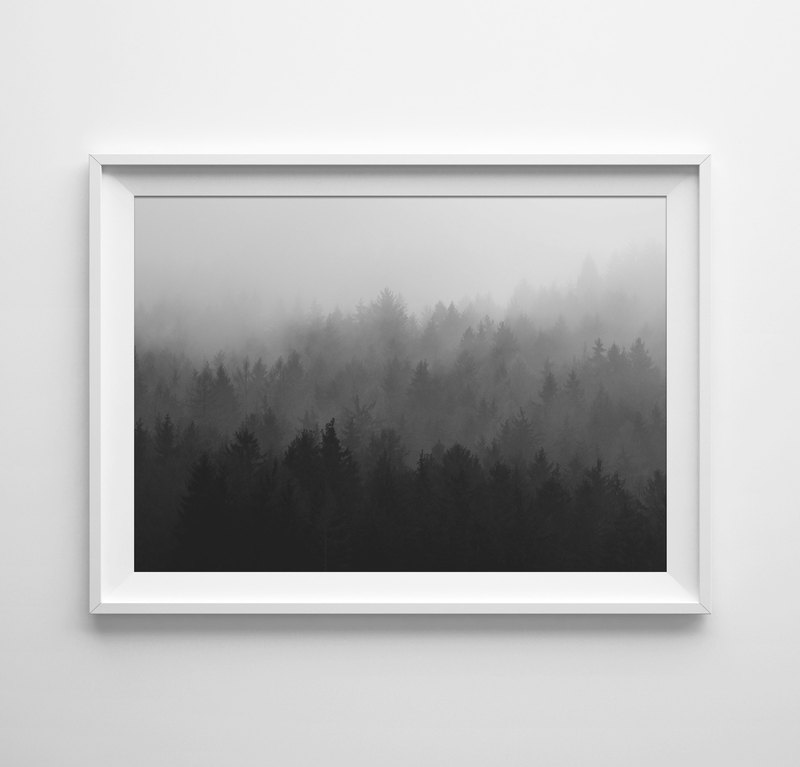 forest print black and white 可定制化 挂画 海报