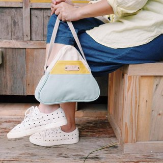 mini cross body triangle bag small size white, yellow,mint colour