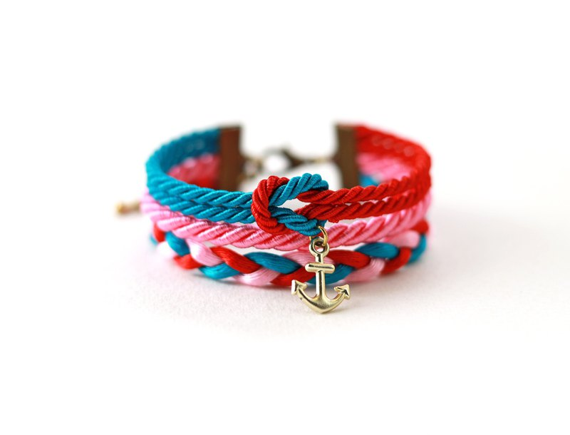 Nautical wrap bracelet in with anchor in red / peacock blue / sweet pink