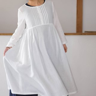 cotton dress / pin tuck / A line dress / midi dress / a81-13