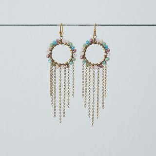 Rainbow Wheels with tassel Earrings