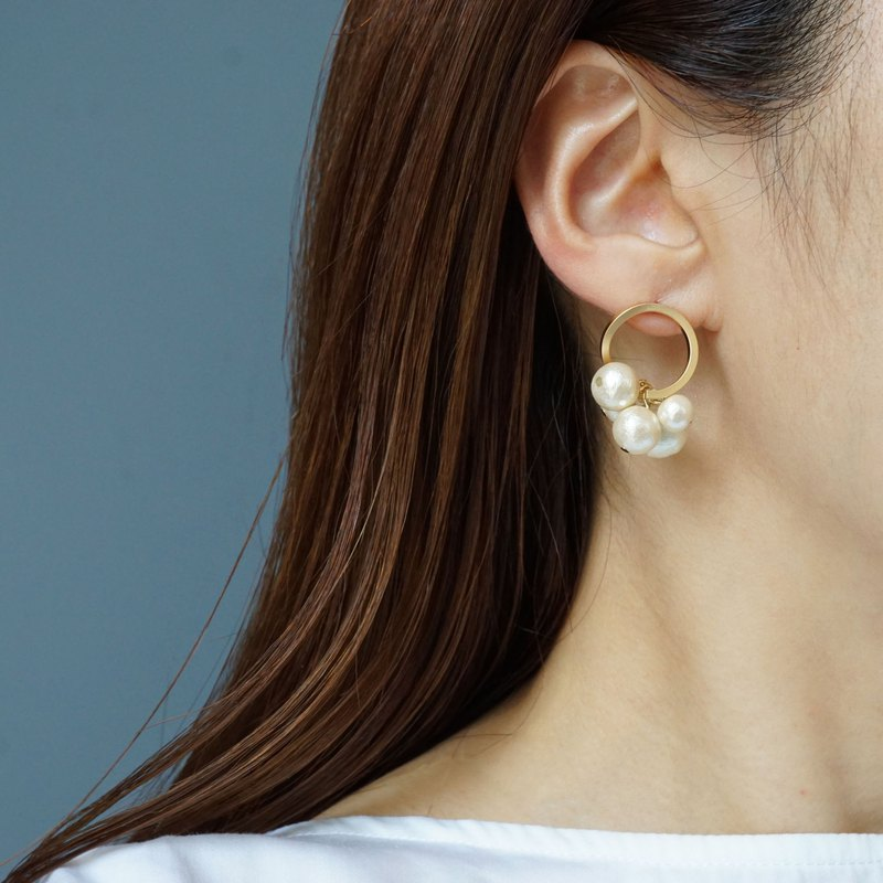 Twist Cotton Pearl Earrings A