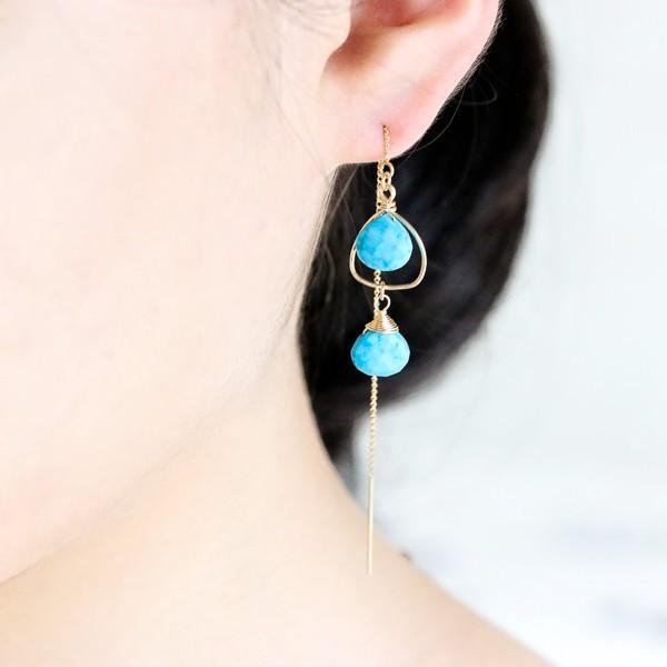 The protector stone of the life Turquoise hammer eyes pattern of heart frame American earrings December birthstone