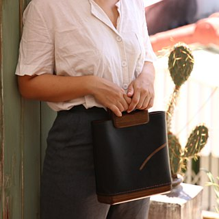 Square Tote (black with dark wood)