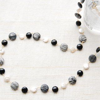 Coin type pearl and stone necklace Zebra Jasper (14 kgf)