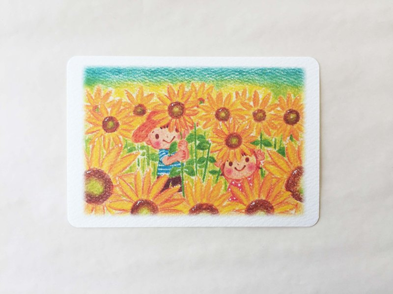 Hide and seek in a sunflower field Postcard no.095