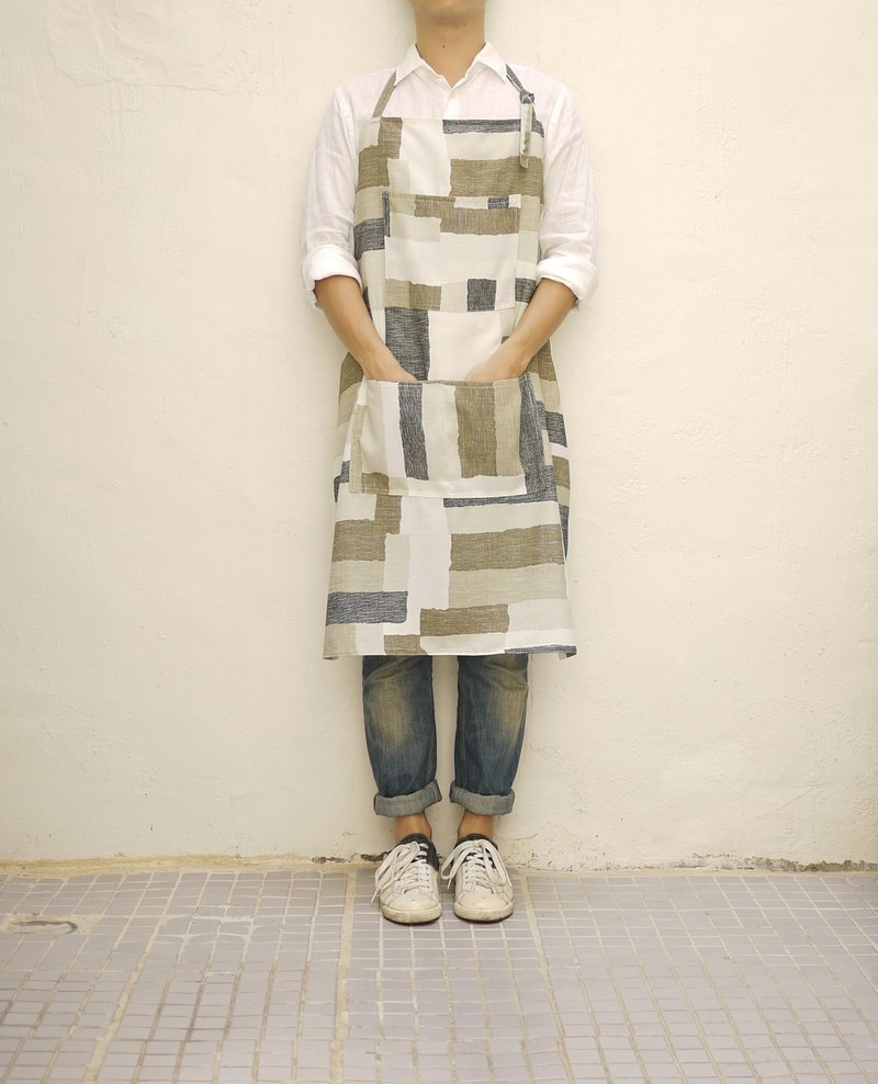 Lippi abstract print linen apron 中性抽象印刷亚麻围裙