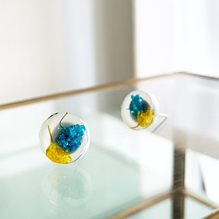Stud earrings for pierced ears contained Yellow and Blue Babys breath (10 mm)