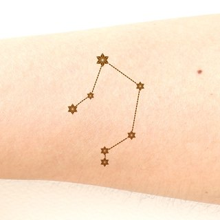 Libra The Scales (September 23 - October 22) Zodiac sticker tattoos. Japanese cute style.