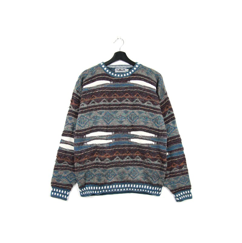 Back to Green:: 立体针织毛衣 交错波纹 sw31 //vintage sweater