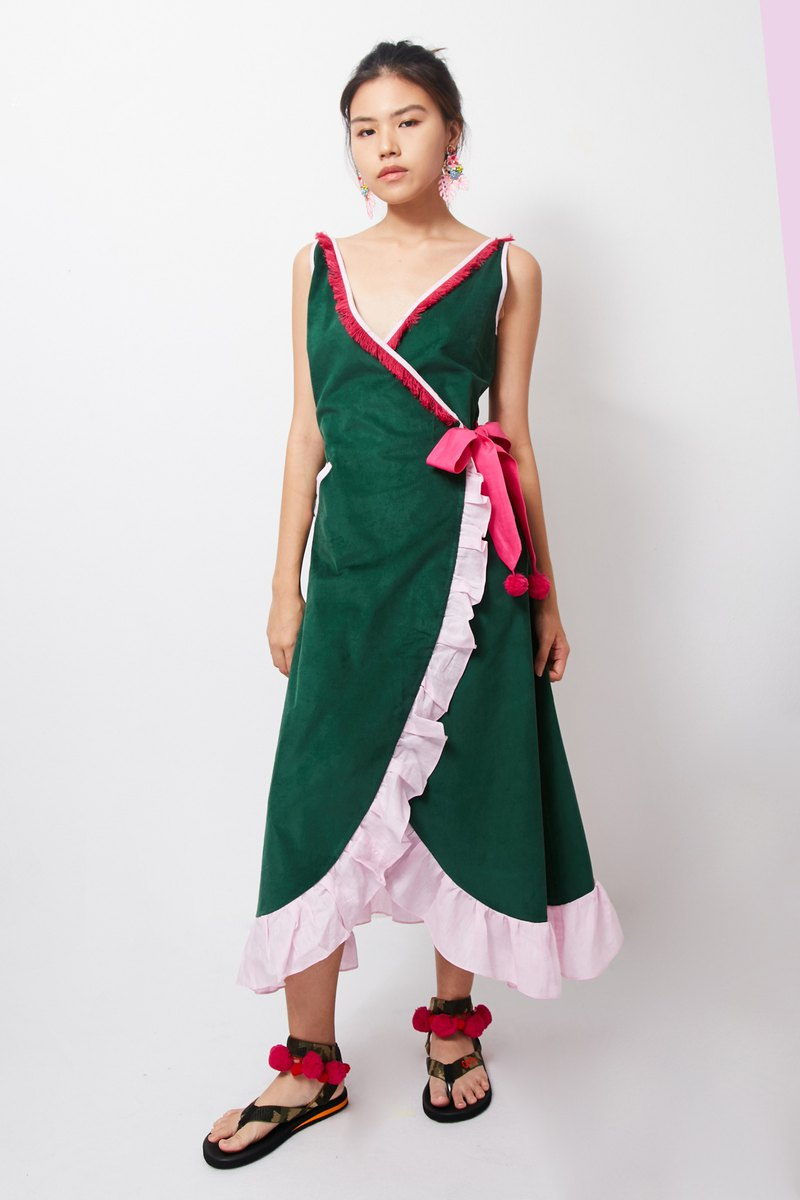 Mayu Maxi Dress - GREEN (Long Mayu Green Dress)