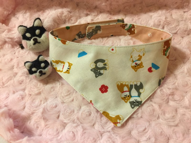Shiba Inu pattern reversible bandana for dogs