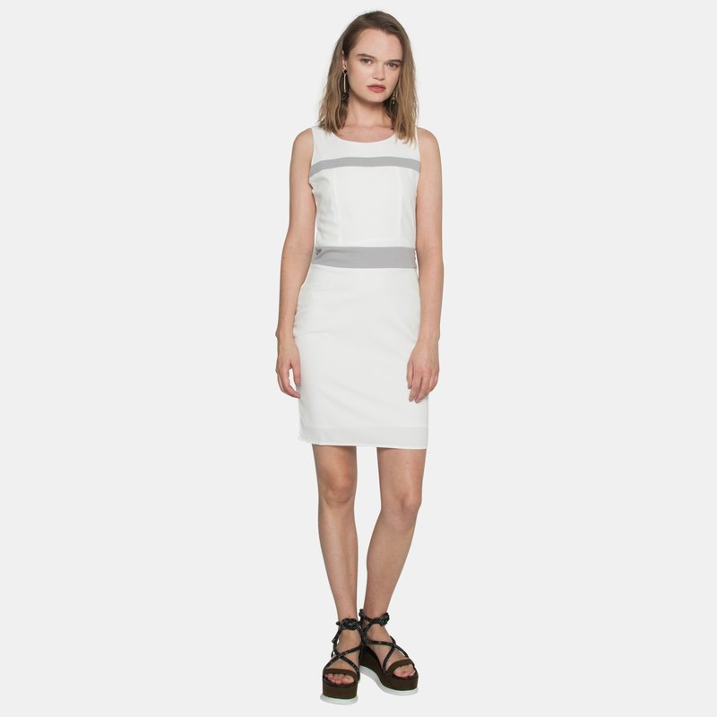 Paneled Pencil Dress (White)