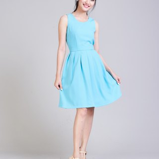 Bow Dress Vintage Party Dress Pastel Blue Dress Bridesmaid Dress Backless Dress