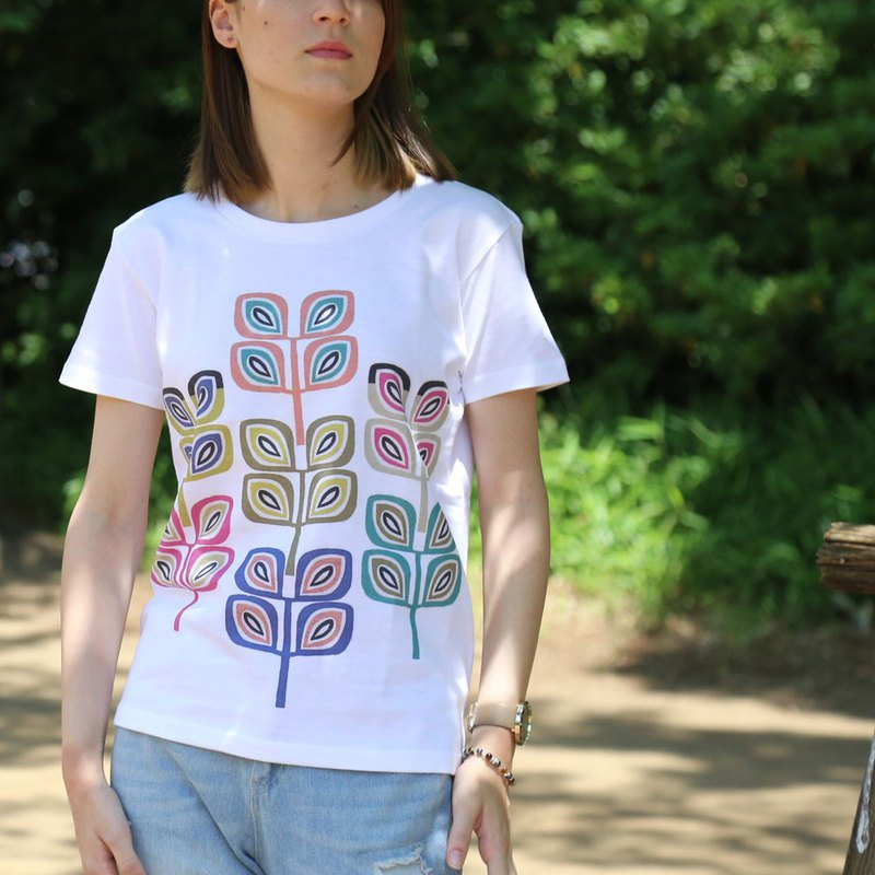 Leaf Motif Print T-shirt - White - women's / men's / unisex