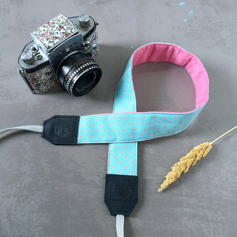 Blue Pink Polkadot  Mirrorless or DSLR Camera Strap