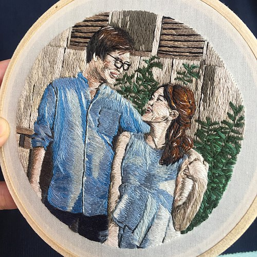 (5 inch) Custom portrait embroidery hoop.