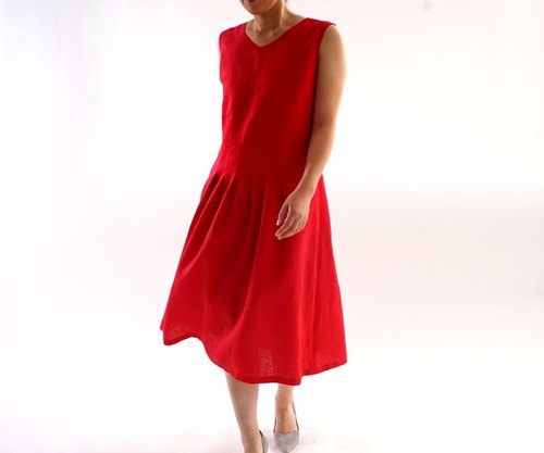 Linen V neck Sleeveless Dress / Rouge a 62 - 6