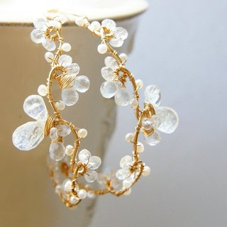 Moonstone and Pearl Vine Hoop Earrings Wedding Jewelry 14k gold filled