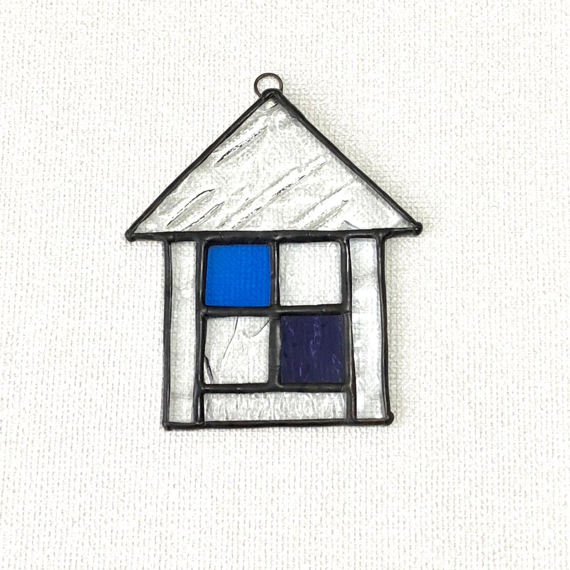 Stained glass sun catcher Maison triangle roof blue purple