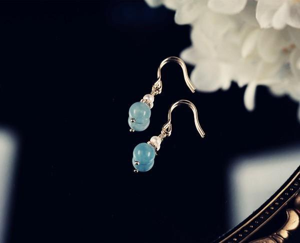 Aquamarine and pearl earrings that lead to happiness March birthstone